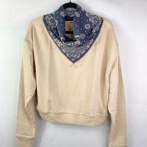 Free People Ecru Combo Crop Sweatshirt NWT